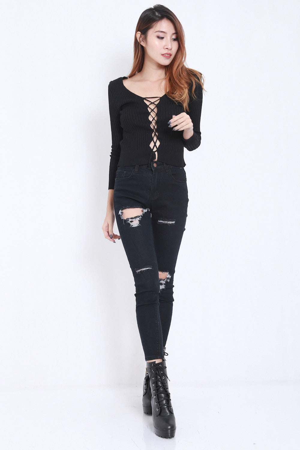 2way Lace Knit Top (Black) -  - 3