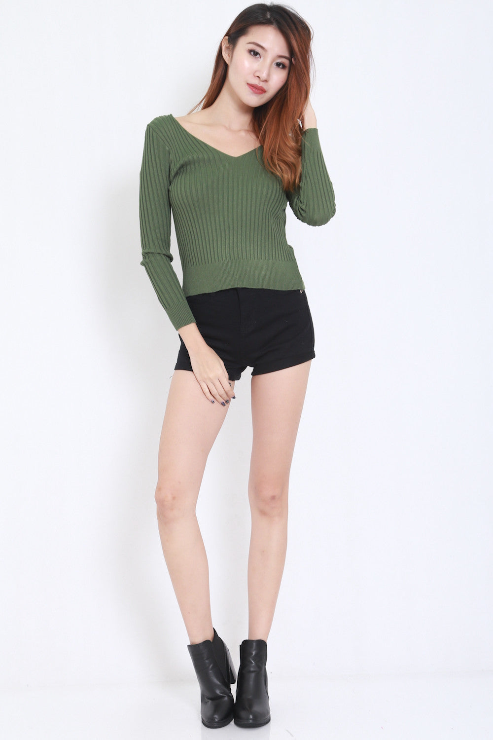 2way Lace Knit Top (Green) -  - 2
