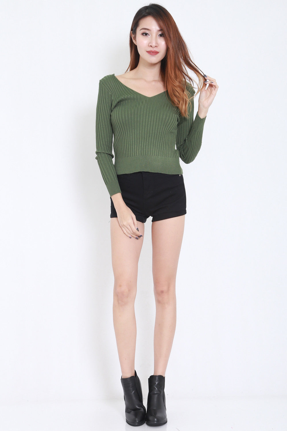2way Lace Knit Top (Green) -  - 3