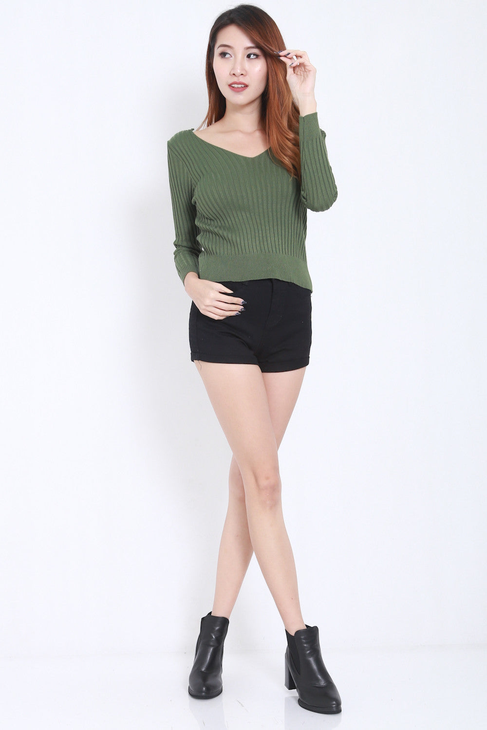 2way Lace Knit Top (Green) -  - 4