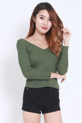 2way Lace Knit Top (Green) -  - 5