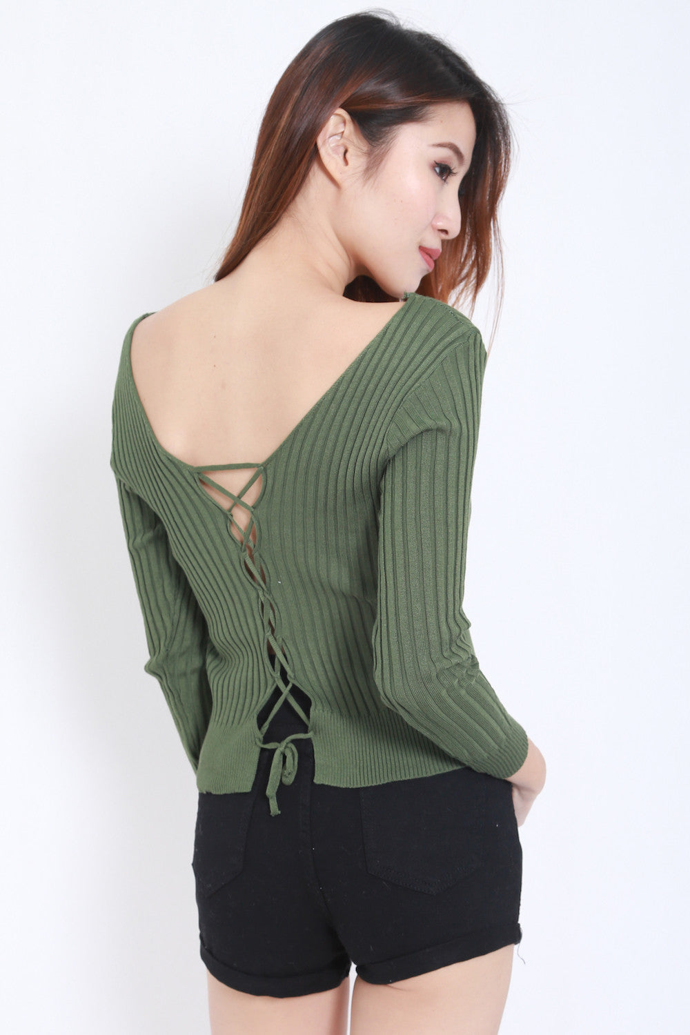 2way Lace Knit Top (Green) -  - 1