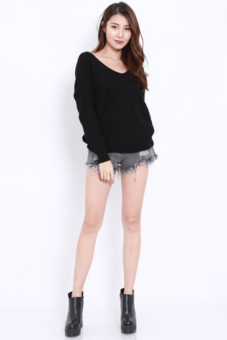 2way Twisted Sweater (Black)