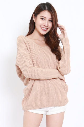 2way Twisted Sweater (Nude)