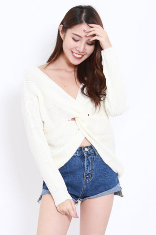2way Twisted Sweater (White)