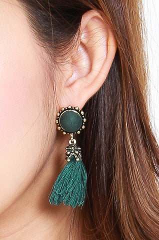 Abena Tassel Earrings (Green)