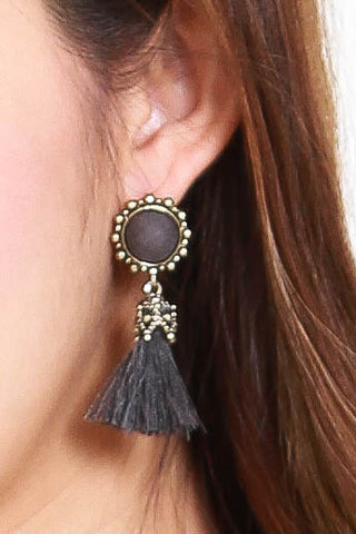 Abena Tassel Earrings (Grey)