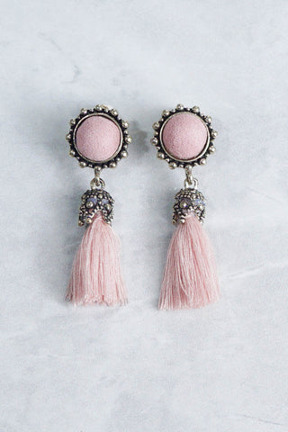 Abena Tassel Earrings (Pink)