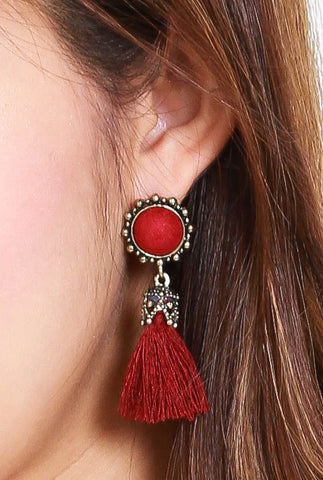 Abena Tassel Earrings (Red)