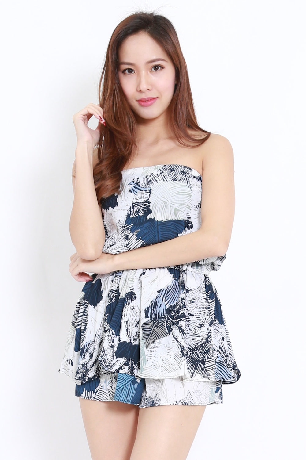 0107df6d27a Abstract Leaves Tube Romper (Blue) – Carrislabelle