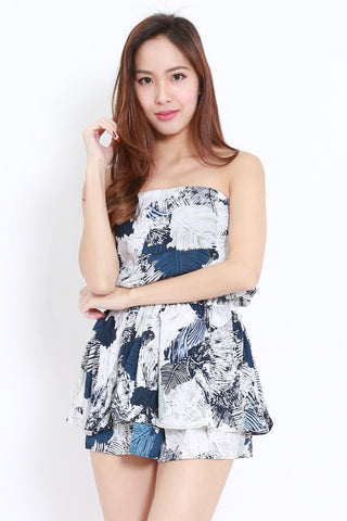 Abstract Leaves Tube Romper (Blue)