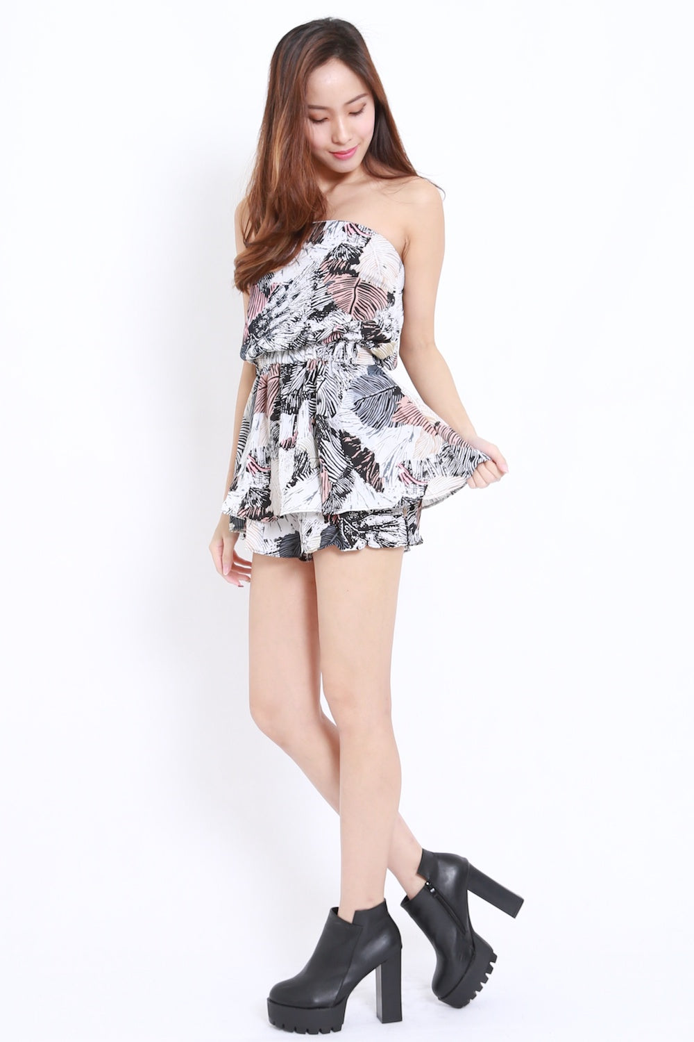 Abstract Leaves Tube Romper (Brown)