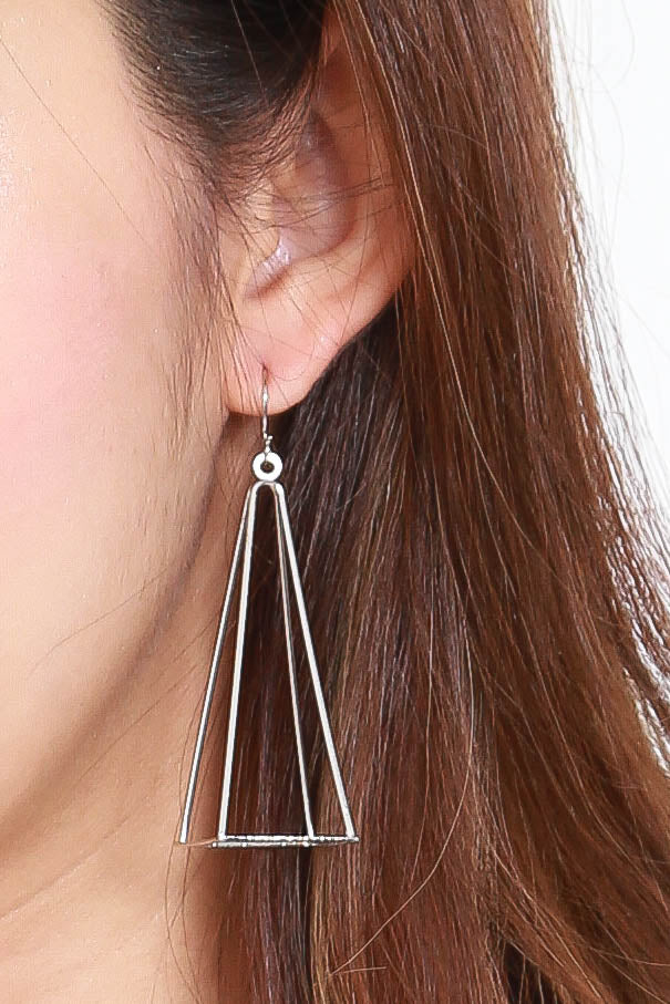 Acia Pyramid Earrings (Silver)