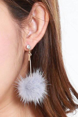 Alena Rhinestone Fur Earrings (Grey)