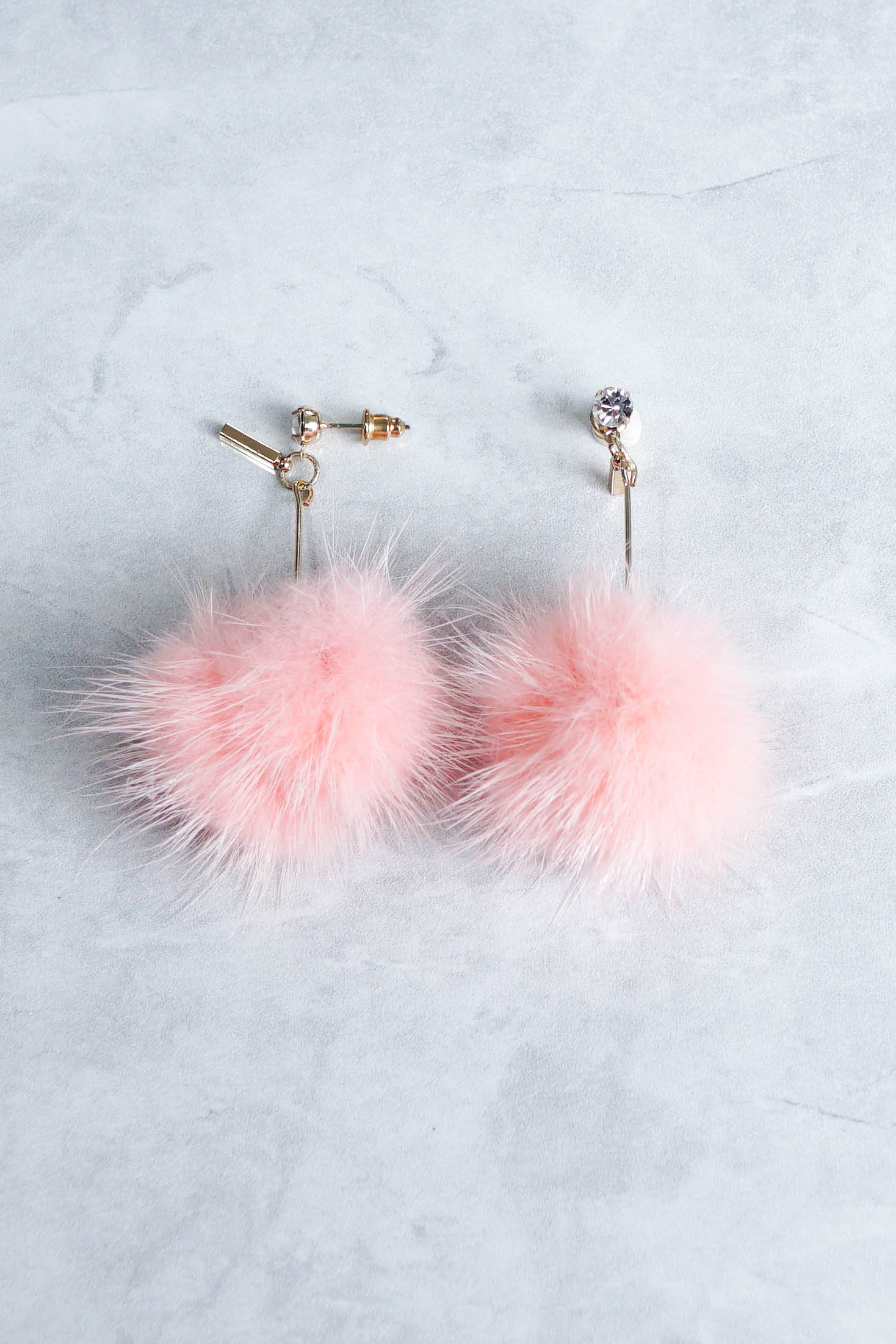 Alena Rhinestone Fur Earrings (Pink)