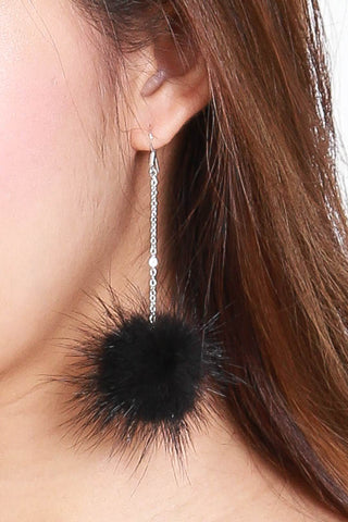 Alicia Furry Hooked Earrings (Black)