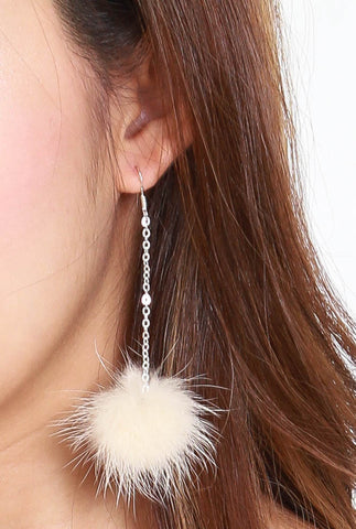 Alicia Furry Hooked Earrings (Cream)