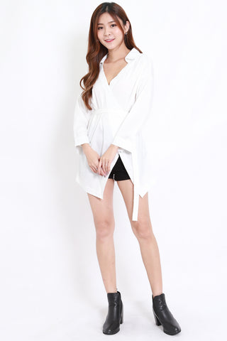 Asymmetrical Button Shirt (White)