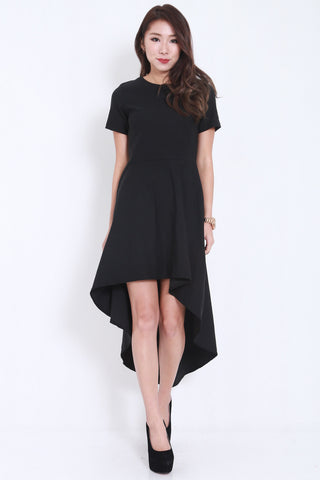 Asymmetrical Curve Tee Dress -  - 1