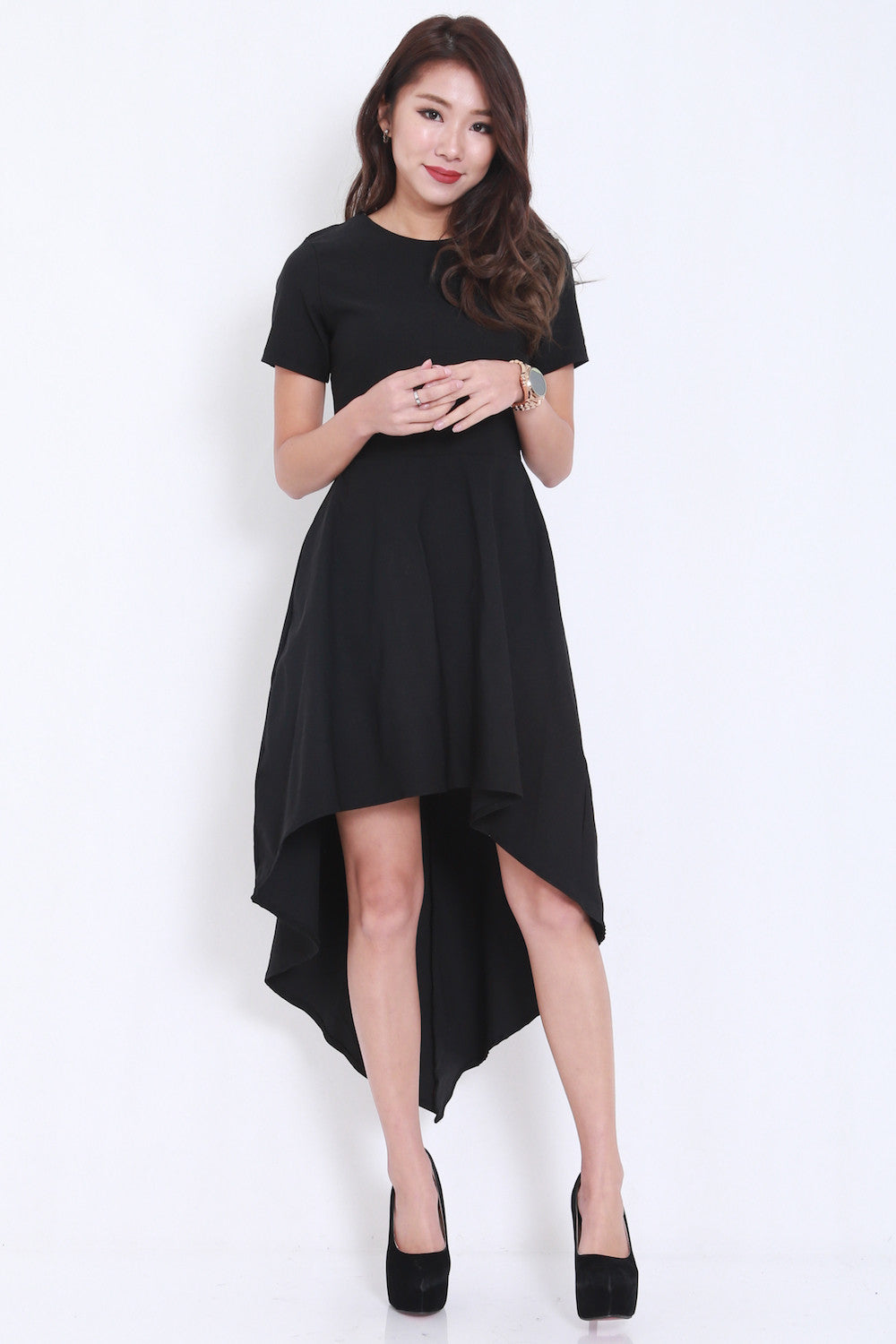 Asymmetrical Curve Tee Dress -  - 3
