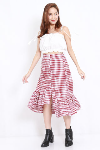 Asymmetrical Gingham Skirt (Red)