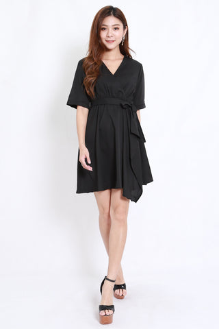 Asymmetrical Kimono Wrap Dress (Black)
