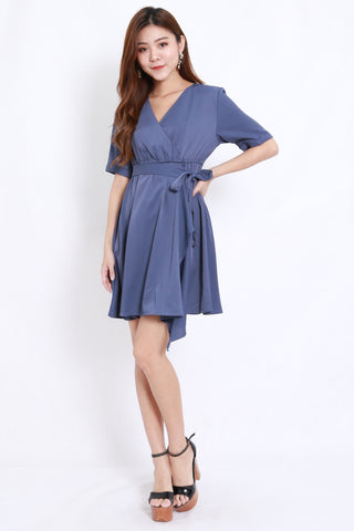 Asymmetrical Kimono Wrap Dress (Blue)