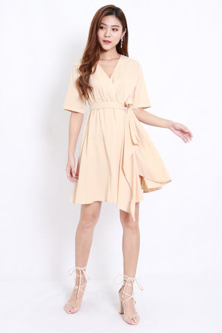 Asymmetrical Kimono Wrap Dress (Cream)