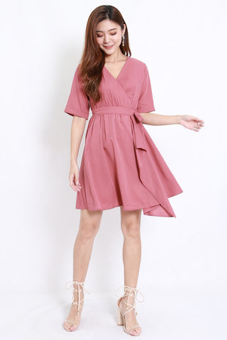 Asymmetrical Kimono Wrap Dress (Rose)