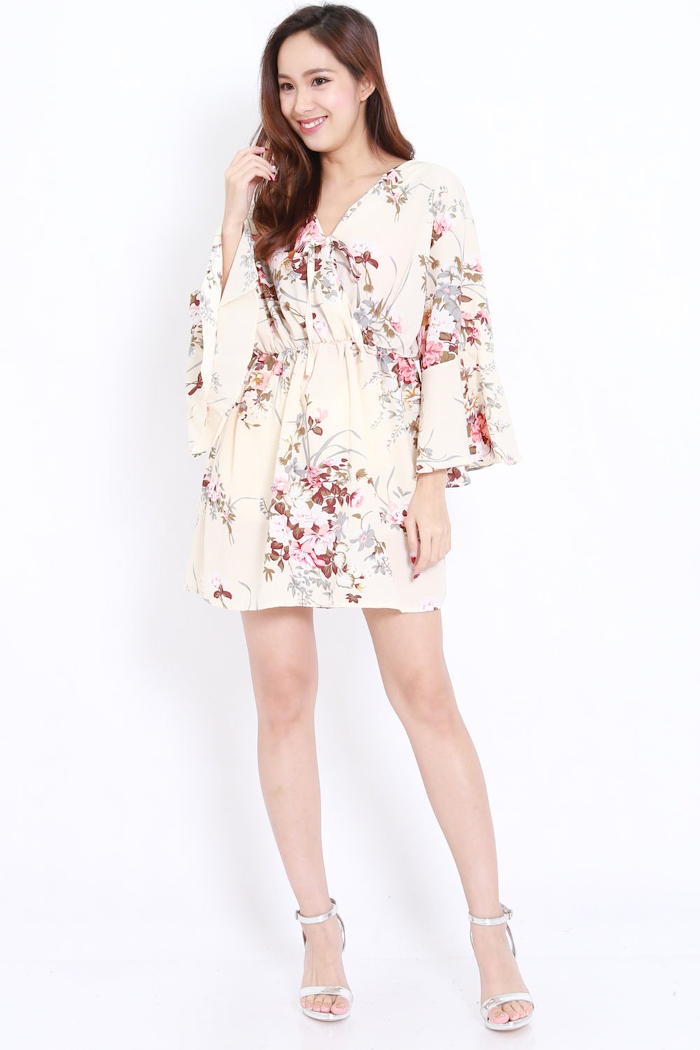 Babydoll Overlap Dress (Cream Floral)