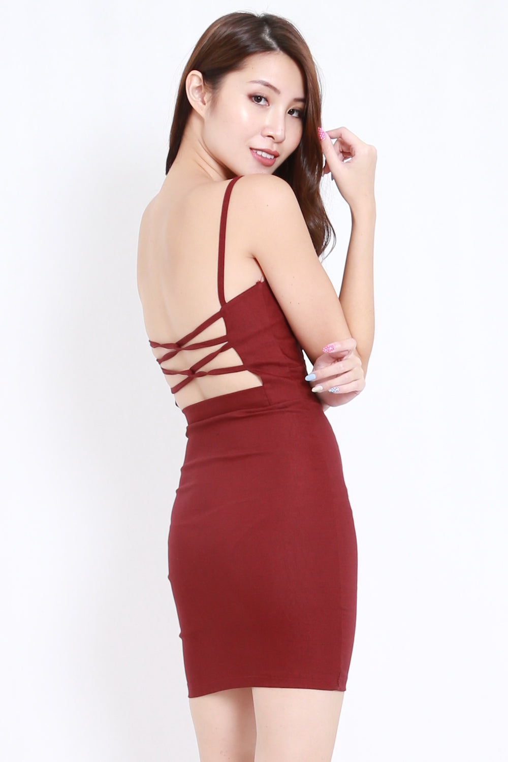 Back Criss Cross Dress (Maroon)