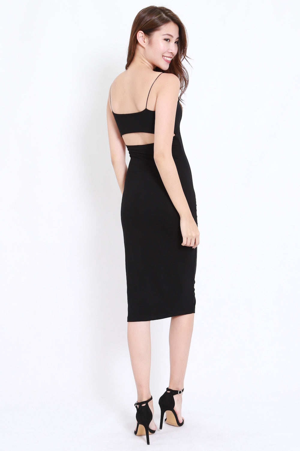 Back Cutout Midi Dress (Black)