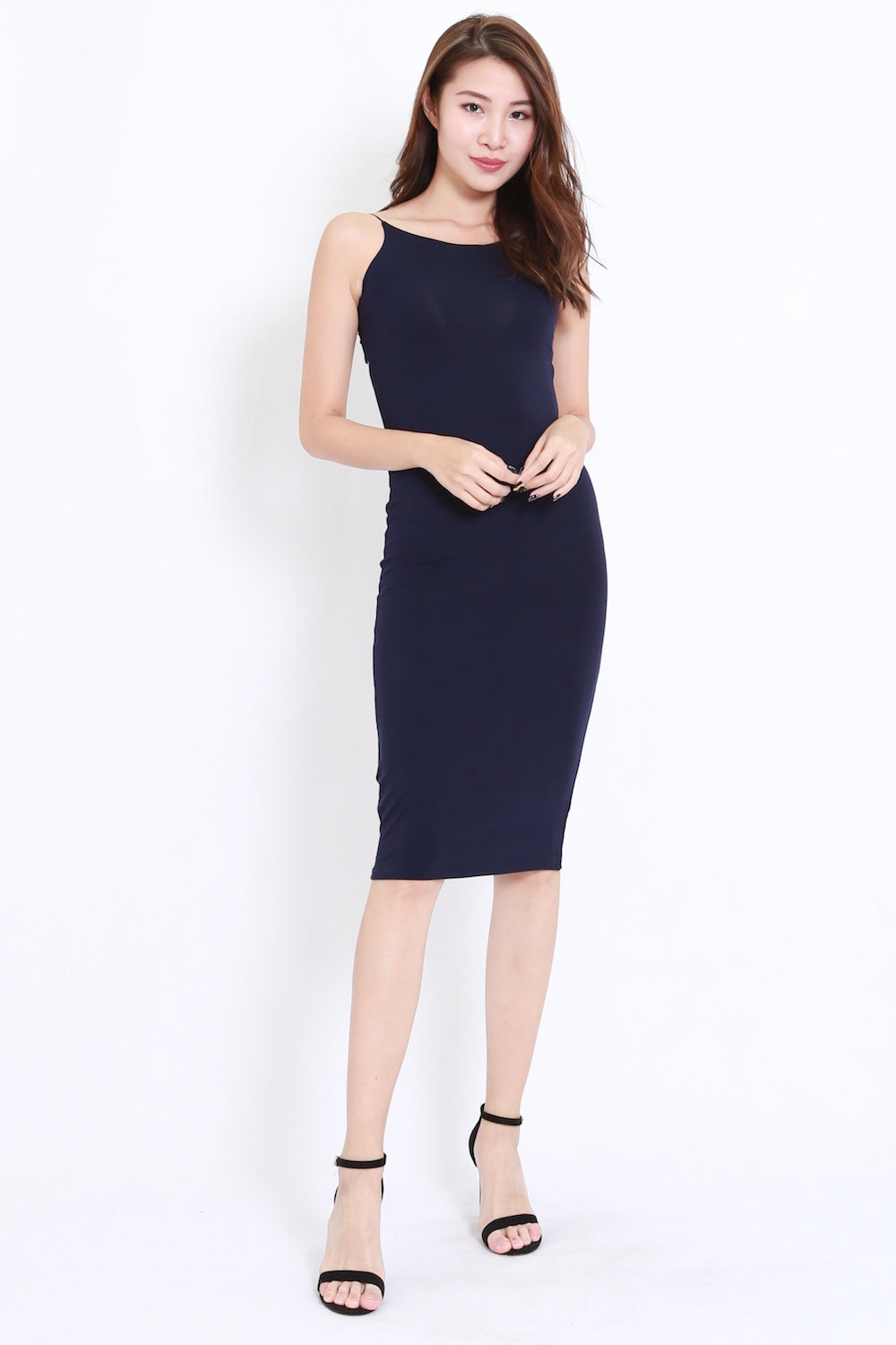 Back Cutout Midi Dress (Navy)