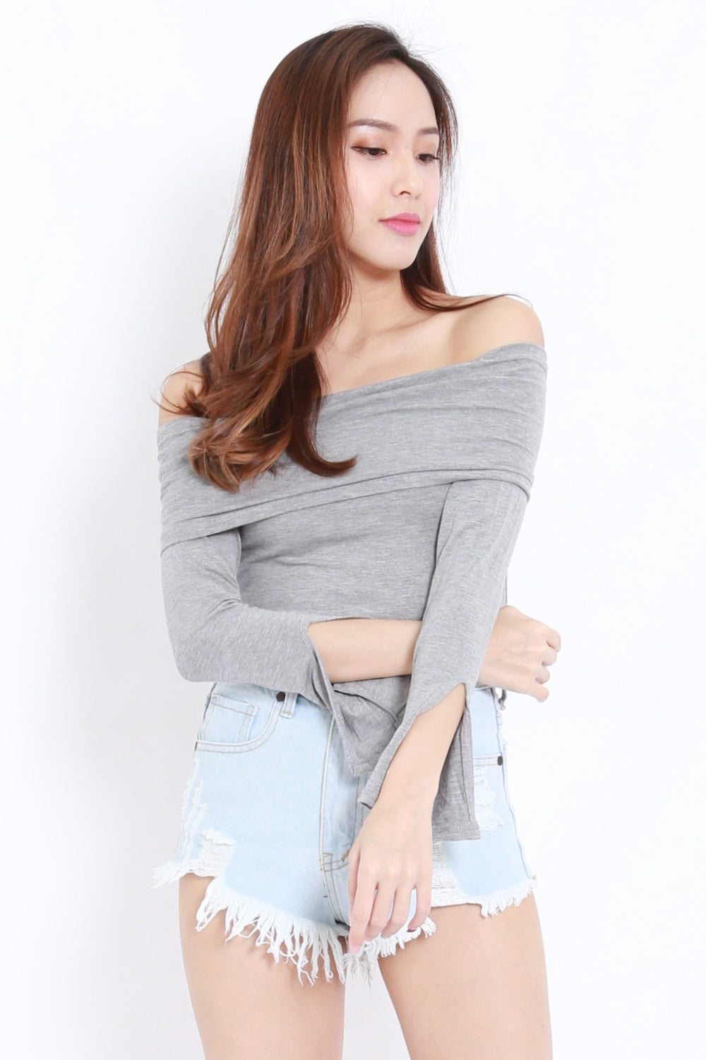 Bandage Off Shoulder Top (Grey)