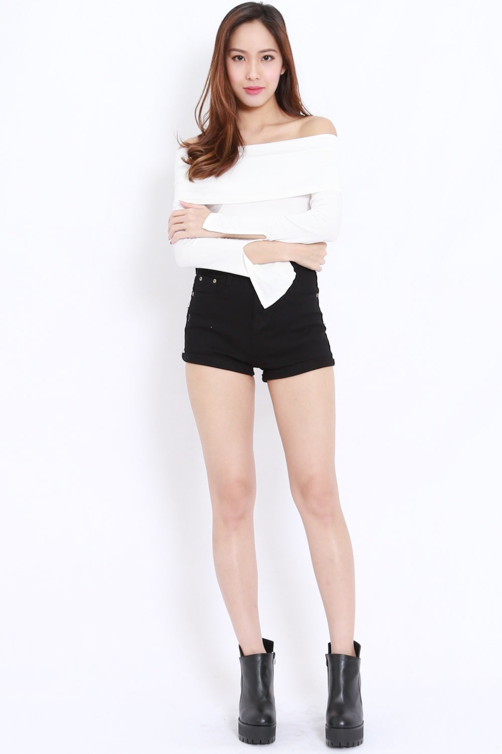 Bandage Off Shoulder Top (White)
