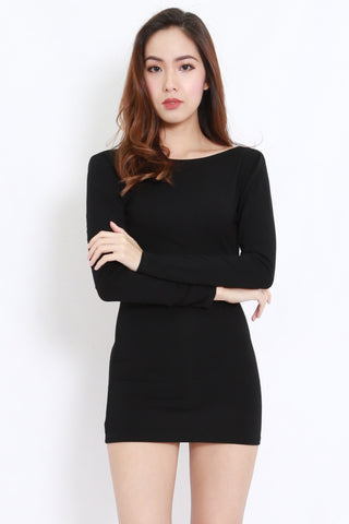 Bare Back Mini Dress (Black)