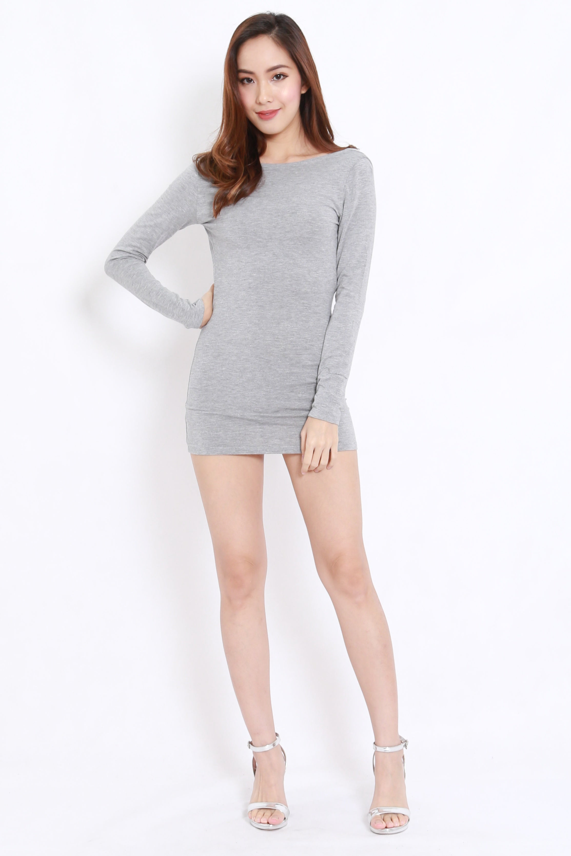 Bare Back Mini Dress (Light Grey)