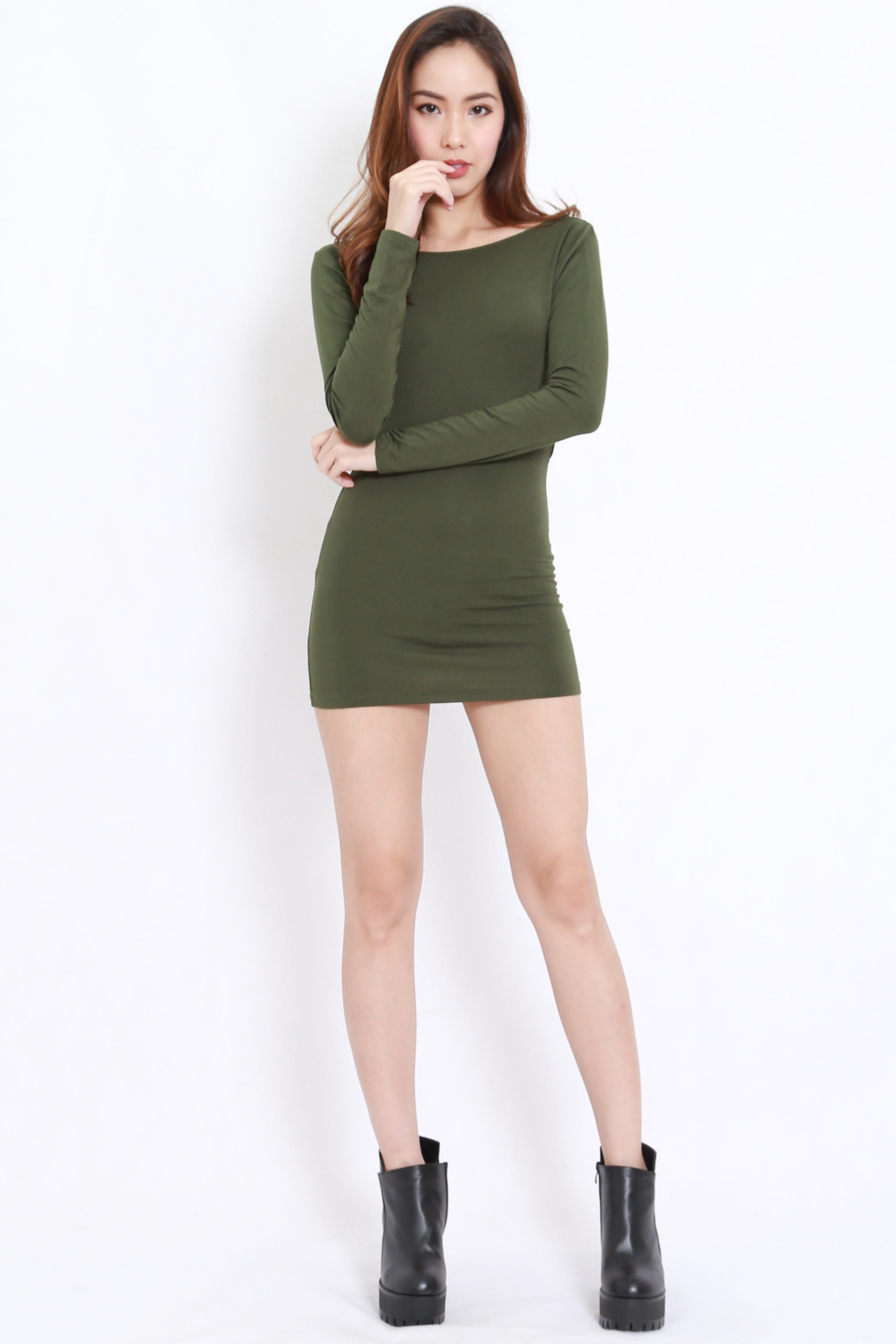 Bare Back Mini Dress (Olive)