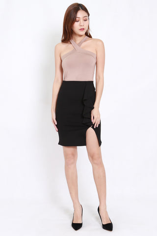 Ruffle Slit Skirt (Black)