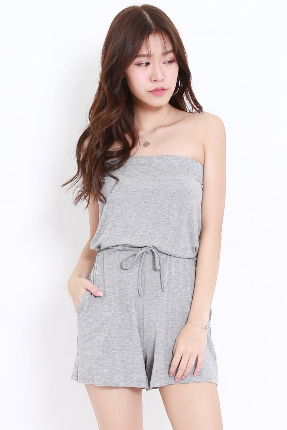 Basic Pocket Tube Romper (Light Grey)