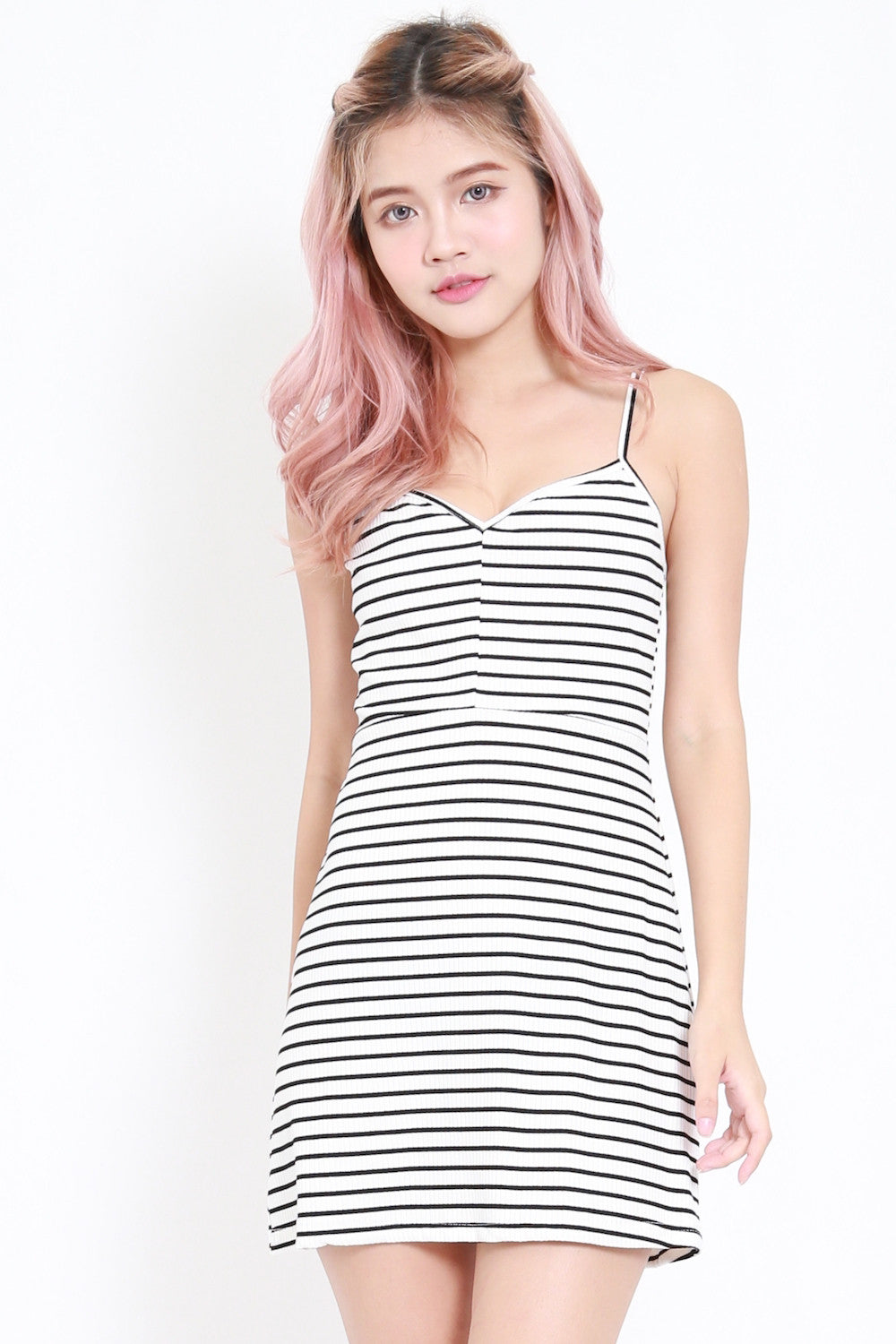 Basic Ribbed Spag Dress (White Stripes)