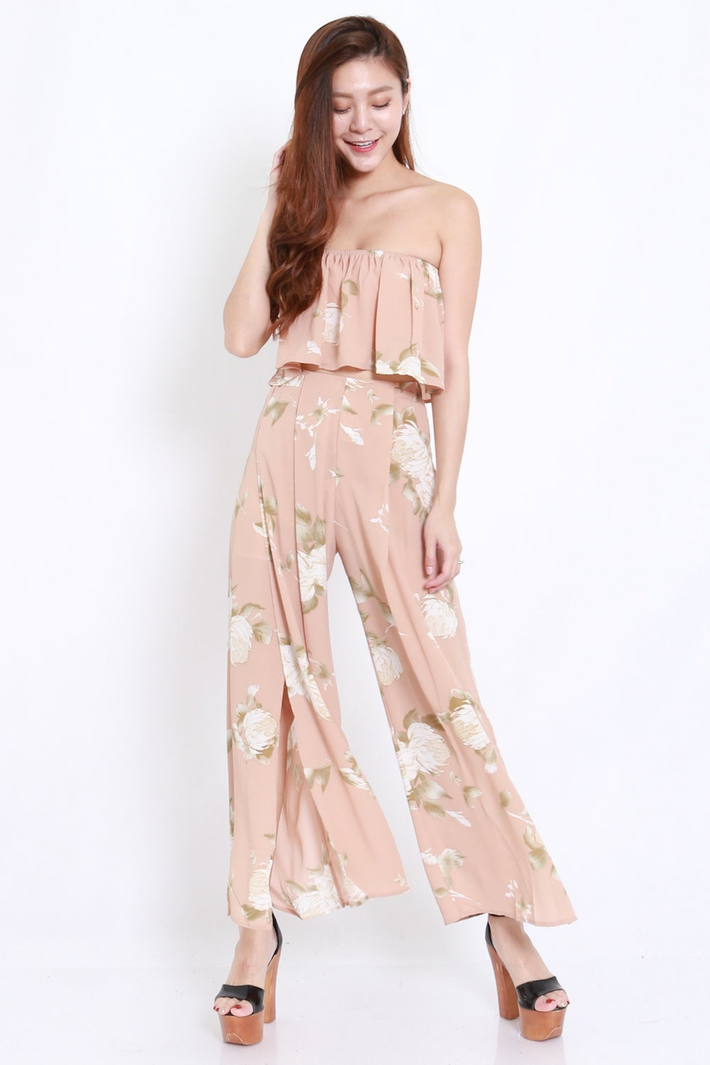 Beige Floral 2pcs Set