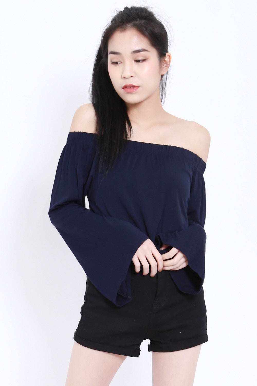 Bell Sleeves Offsie Tunic (Navy) -  - 2