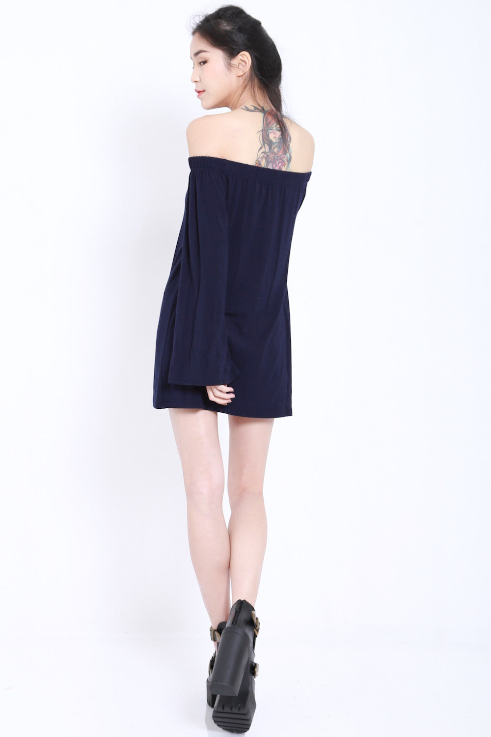Bell Sleeves Offsie Tunic (Navy)