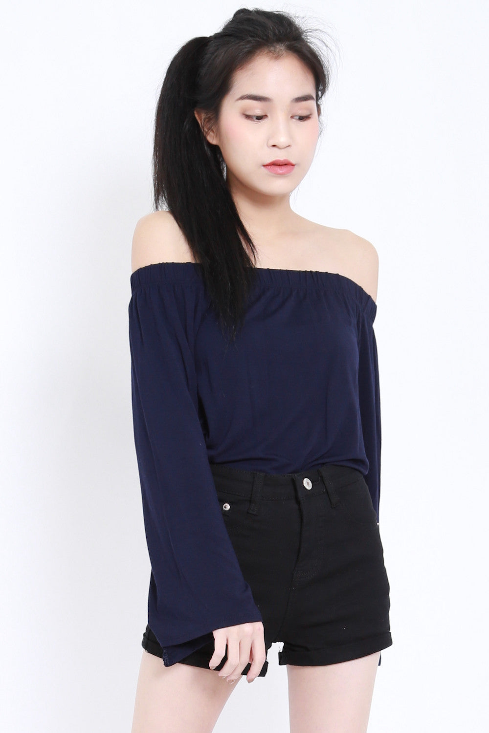 Bell Sleeves Offsie Tunic (Navy) -  - 3
