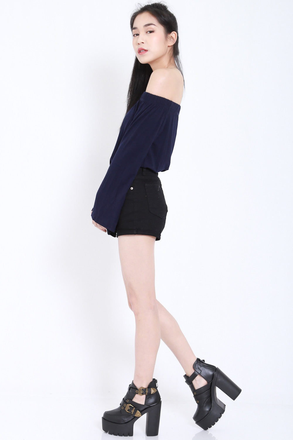 Bell Sleeves Offsie Tunic (Navy) -  - 4