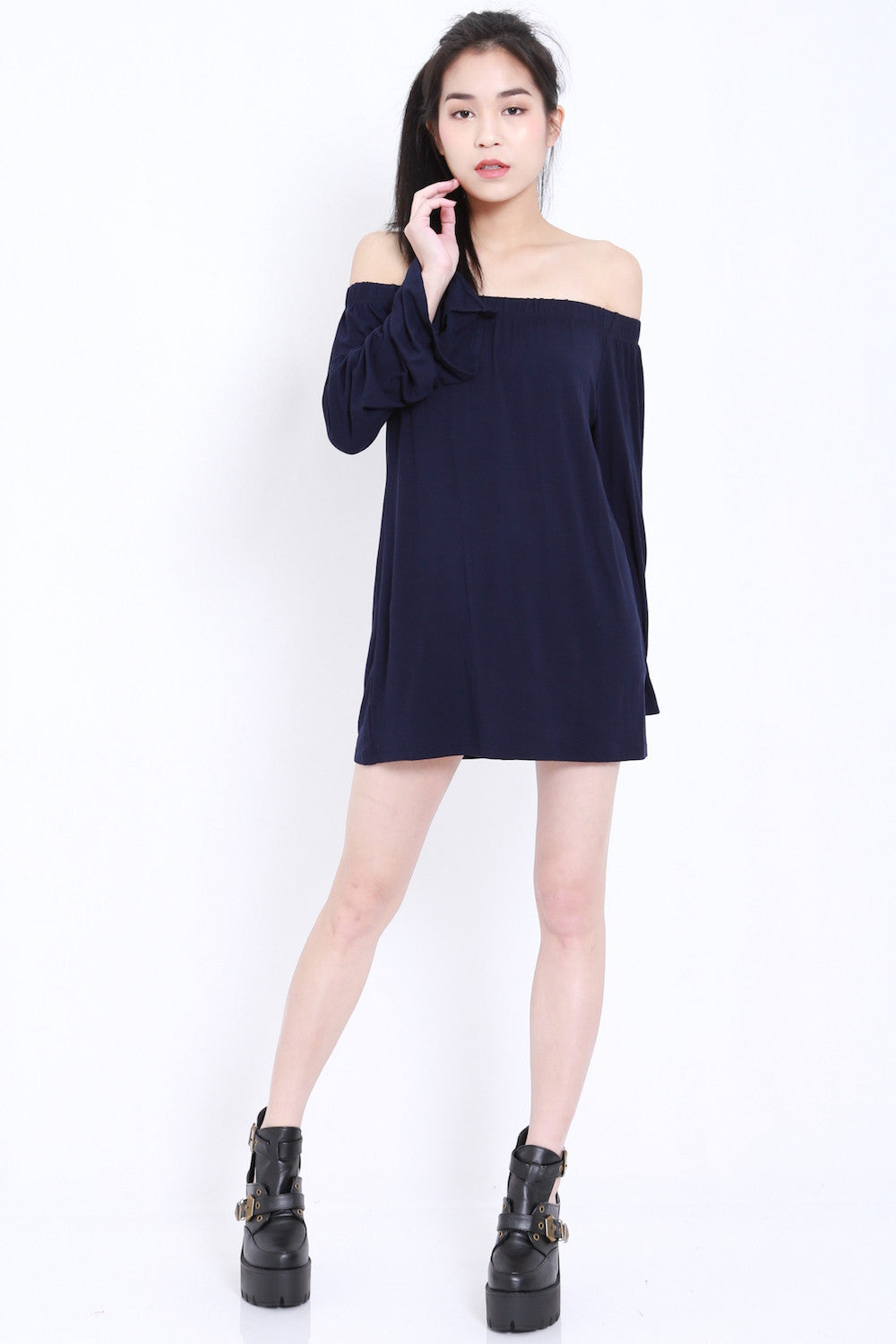Bell Sleeves Offsie Tunic (Navy) -  - 7