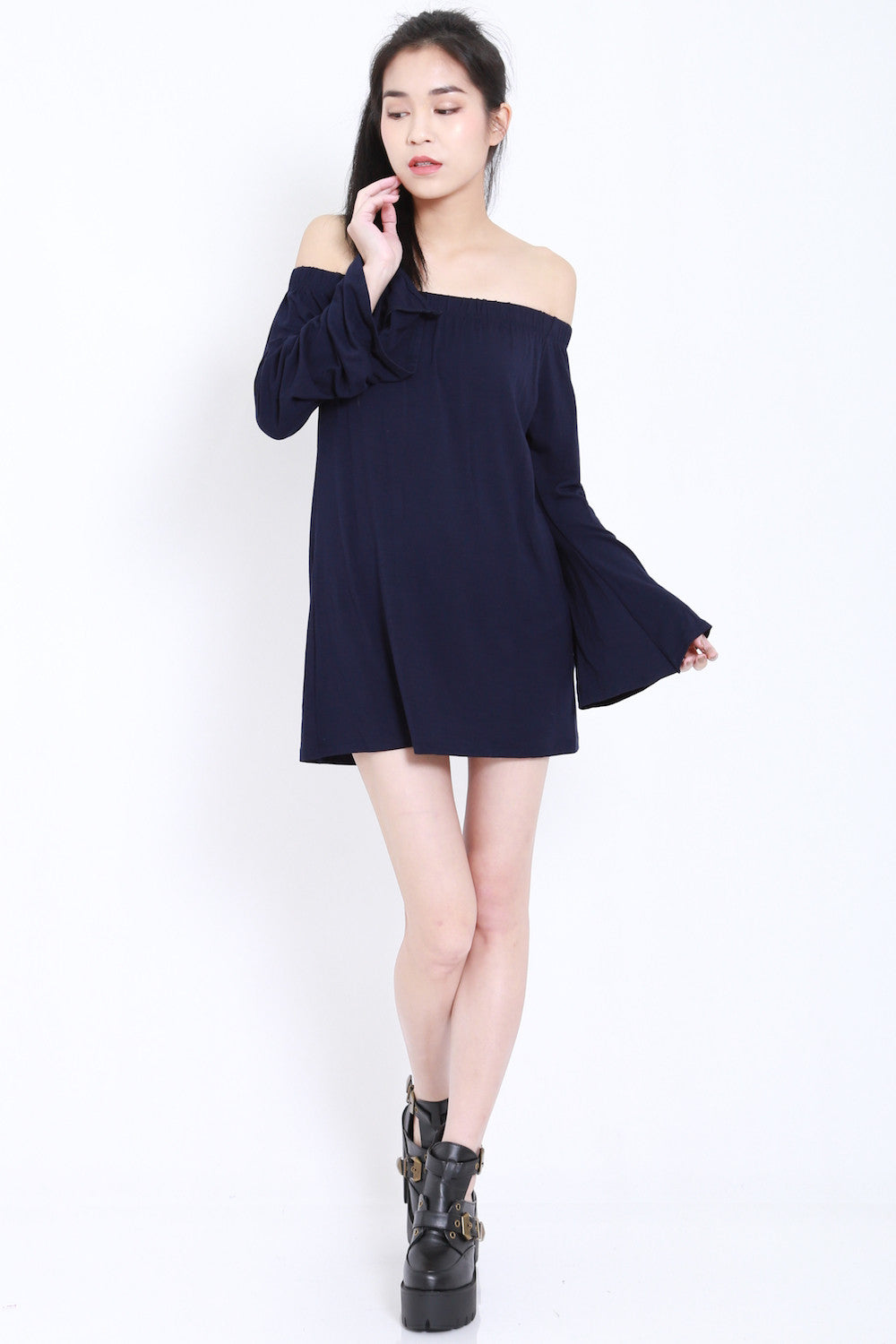 Bell Sleeves Offsie Tunic (Navy) -  - 1