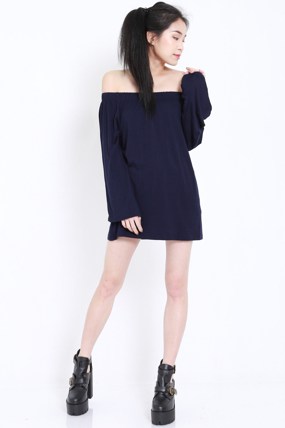 Bell Sleeves Offsie Tunic (Navy) -  - 8