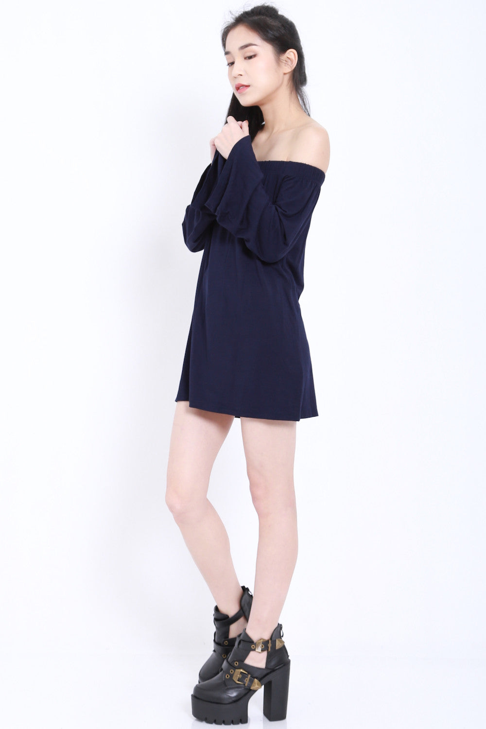 Bell Sleeves Offsie Tunic (Navy) -  - 9